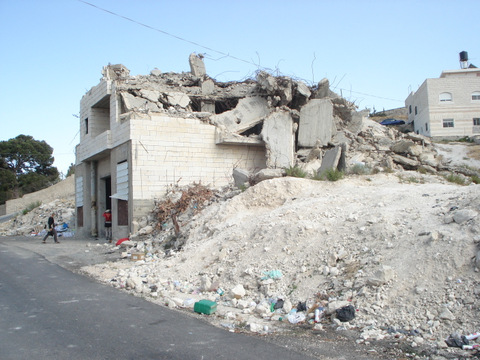 Jerusalem home demolition (photo by Harold Knight, August, 2008)