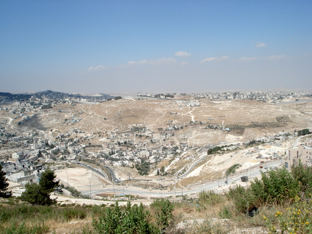 East Jerusalem, 2008. Palestinian neighborhood in foreground, illegal