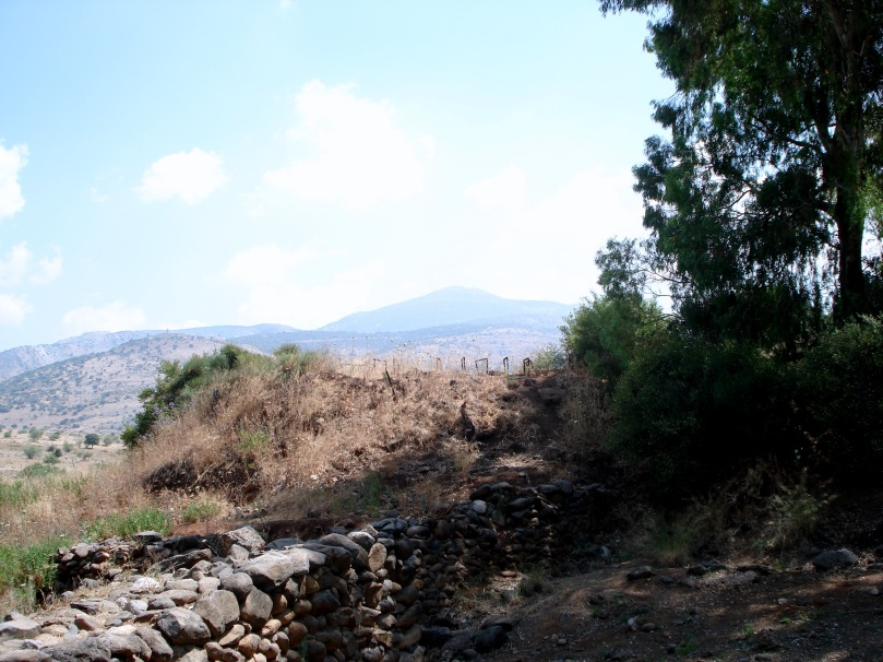 The Golan Heights as seen from Tel Dan -- the site of the temple for the Northern Kingdom (Israel) after the split from the Southern Kingdom (Judah).