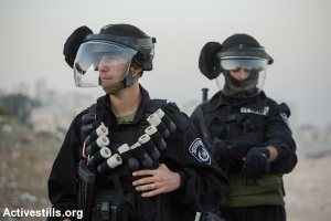 Israeli police with black sponge-tipped bullets in East Jerusalem, November 12, 2014