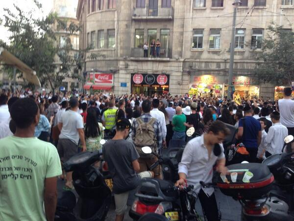 "Tweeted by benwedeman @bencnn, July 1st [2014], 'Mob on Jaffa Road, Jerusalem chanting ""death to the Arabs."" (Photo: Ma'an News Agency)"