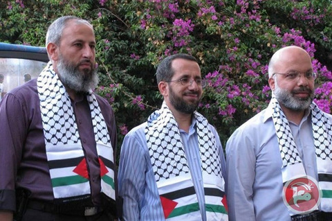 Muhammad Abu Teir, Ahmad Attun, Muhammad Tutah and Khalid Abu Arafeh, Members of Palestine's parliament, the Palestinian Legislative Council.