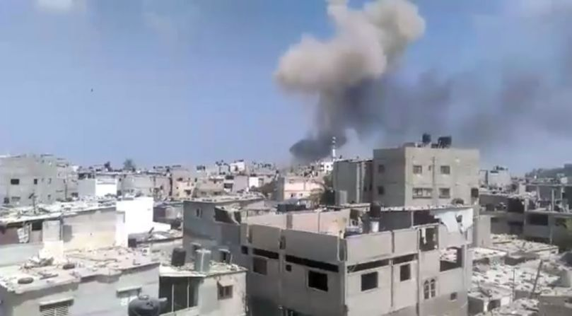 An explosion rocks the Gaza Strip on August 6, 2015, killing at least four. The cause was not immediately known. screen capture Ebrahim Jihad Yousif/Facebook