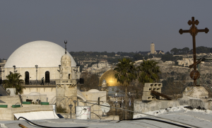 A view of Jerusalem's Old City Hurva (The Ruin) synagogue, left, the Dome of the Rock mosque, center, and an Armenian church on January 24, 2011. Getty Images.