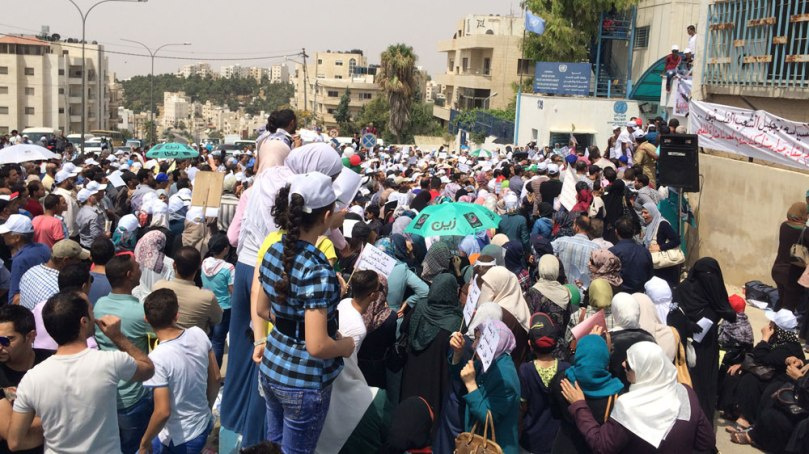 Refugees, UNRWA workers and teachers held a sit-in at UNRWA's offices in Amman on Wednesday - Nisreen El-Shamayleh/Al Jazeera