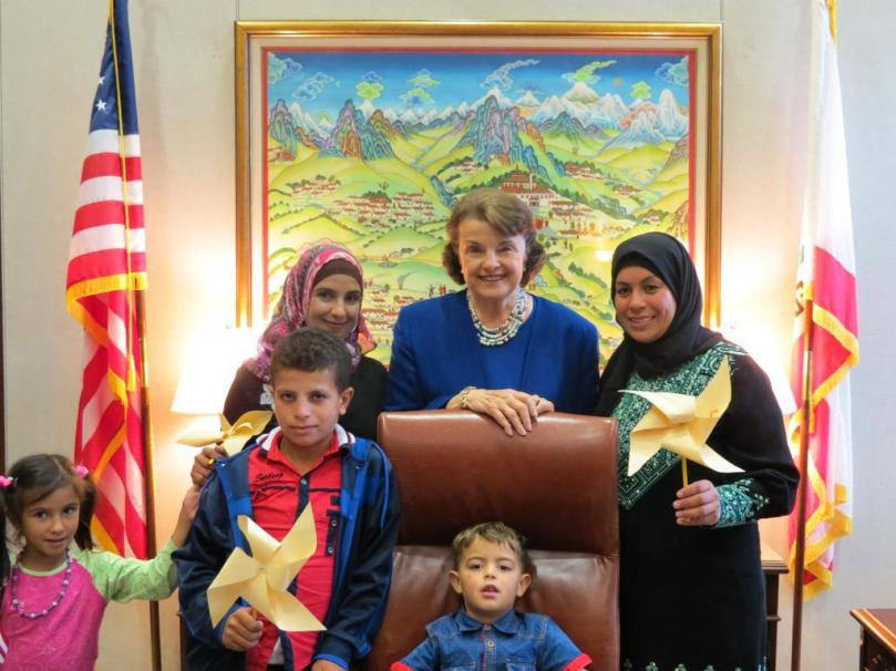 Dianne Feinstein meets with Palestinians from Susiya. (Photo from Dianne Feinstein's Twitter feed.)