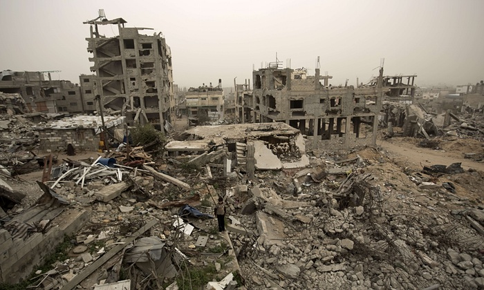 Gaza has received only a quarter of the funds pledged by the international community for its reconstruction following last year's 50-day war between Israel and Hamas. (Photograph: Mohammed Abed/AFP/Getty Images)