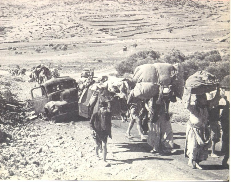 Palestinians fleeing their homes and villages, 1948.