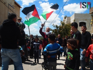 Weekly demonstration against the Apartheid Wall in Kafr Qaddums Village. Photo, International Solidarity Movement.