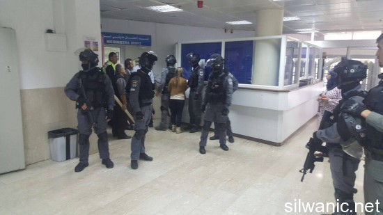 Video: For the second consecutive day, storming into Al-Maqased hospital looking for the medical file of a detained child October 30, 2015 Wadi Hilweh Information Center - Silwan http://silwanic.net/?p=64660