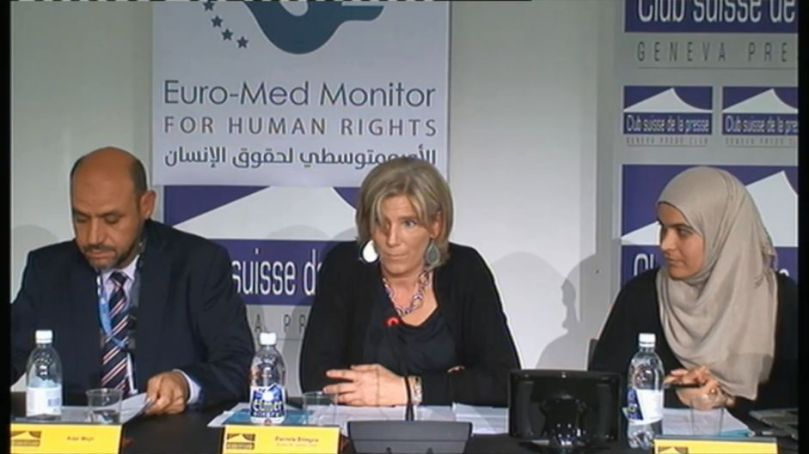Euro-Mediterranean Human Rights Monitor press conference in Geneva. October 16,2015 (Euro-Med photo) See ❹ below.