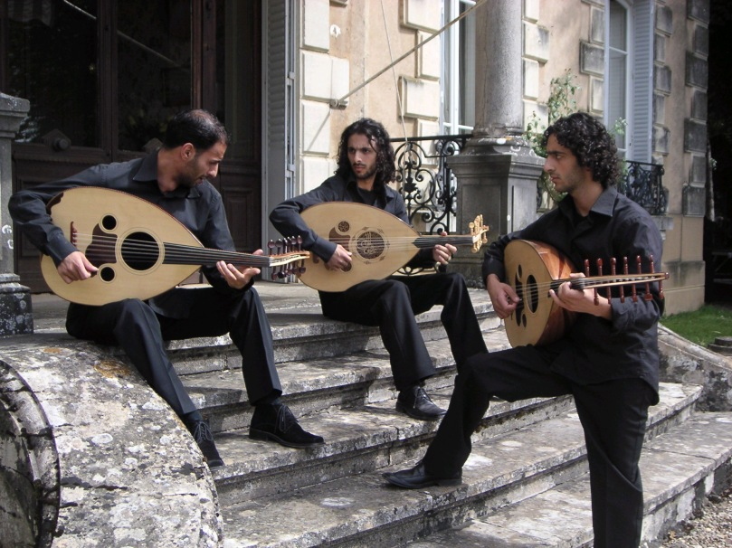 "Le Trio Joubran plays traditional Palestinian OUD music―3 brothers from Nazareth. Adnan Joubran: ""We are Palestinians . . .  but no one even notices that we are Christian Palestinians, because for us, Palestinians, it does not matter . . .  we are campaigning for the freedom of our country through our heritage and music."" (Photo, Arab Women Media Watch Centre UK)"