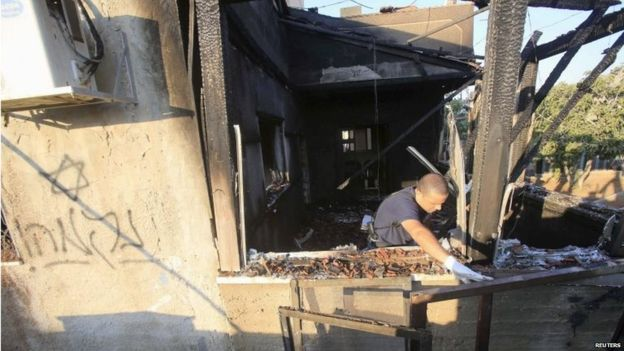 "An 18-month-old boy and his parents were killed in a night-time attack on two homes in the village of Duma.The Hebrew word for ""revenge"" and a Star of David were found sprayed on the wall of one of the gutted houses. July 31, 2015. (Photo: BBC News). See number ❹ above."