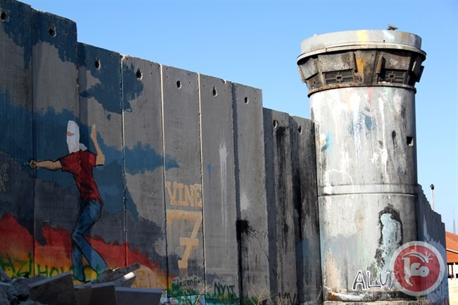 Israel's separation wall pictured from Aida refugee camp in Bethlehem, extended from the place of the photo above. (Charlie Hoyle/File)